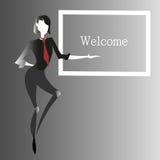 Vector fiigure, um Aufmerksamkeit oder gerade Willkommen anzuziehen Lizenzfreies Stockfoto