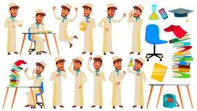 Vector fijado actitudes adolescentes del muchacho Árabe, musulmán Cara Niños Para el web, folleto, diseño del cartel Ejemplo aisl stock de ilustración