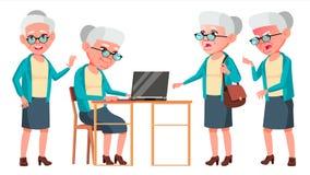 Vector fijado actitudes de la mujer mayor Personas mayores Persona mayor envejecido Abuelo alegre Presentación, invitación, tarje Foto de archivo libre de regalías