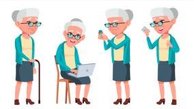 Vector fijado actitudes de la mujer mayor Personas mayores Persona mayor envejecido Jubilado caucásico Sonrisa Web, cartel, diseñ Imágenes de archivo libres de regalías