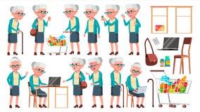 Vector fijado actitudes de la mujer mayor Personas mayores Persona mayor envejecido Jubilado lindo actividad Anuncio, saludando Fotos de archivo