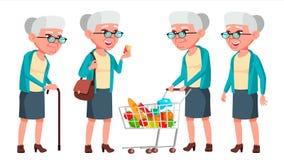 Vector fijado actitudes de la mujer mayor Personas mayores Persona mayor envejecido Pensionista positivo Publicidad, cartel, dise Imagen de archivo libre de regalías