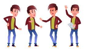 Vector fijado actitudes del niño del colegial del muchacho Alto alumno classmate Adolescente, sala de clase, sitio Para hacer pub ilustración del vector