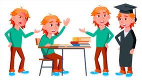 Vector fijado actitudes del niño del colegial del muchacho Alto alumno classmate Vida, emocional, actitud Para el web, folleto, c ilustración del vector