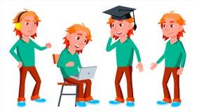 Vector fijado actitudes del niño del colegial del muchacho Alto alumno alumno Divertido, amistad, disfrute de la felicidad Para e libre illustration