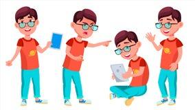 Vector fijado actitudes del niño del colegial del muchacho Alumno primario Estudiante Activity eduque Niños, positivos para la po stock de ilustración