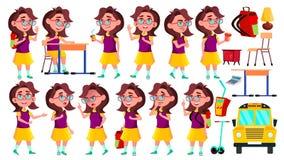 Vector fijado actitudes del niño de la colegiala de la muchacha Alto alumno adolescente Belleza, forma de vida, amistosa para la  ilustración del vector