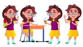 Vector fijado actitudes del niño de la colegiala de la muchacha Alto alumno classmate Vida, emocional, actitud Para el web, folle ilustración del vector