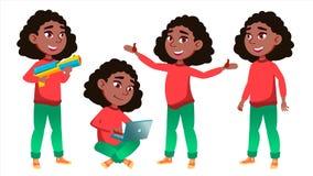 Vector fijado actitudes del niño de la colegiala de la muchacha negro Afroamericano Alto alumno classmate Adolescente, sala de cl stock de ilustración