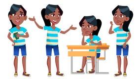 Vector fijado actitudes del niño de la colegiala de la muchacha negro Afroamericano Alto alumno classmate Adolescente, sala de cl libre illustration