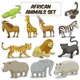 Vector fijado animales africanos de la sabana de la historieta Fotografía de archivo