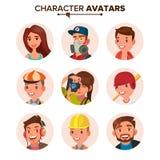 Vector fijado avatares de la gente Cara, emociones default libre illustration