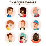 Vector fijado avatares de los caracteres de la gente Ejemplo aislado plano de la historieta libre illustration