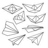 Vector fijado: aviones y naves de papel del papel Imagen de archivo libre de regalías