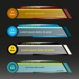 Vector fijado barras de las noticias de la TV Muestra de un tercera más bajo noticias vivas, ultra HD Banderas para el vídeo de l stock de ilustración