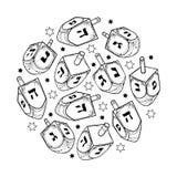 Vector fijado con el esquema Jánuca o dreidel o sevivon de Hanukkah con alfabeto hebreo en negro aislado en el fondo blanco