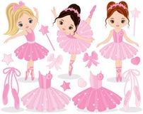 Vector fijado con las pequeños bailarinas, zapatos de ballet y vestidos lindos del tutú stock de ilustración