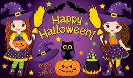 Vector fijado con las pequeños brujas y elementos lindos de Halloween Fotos de archivo libres de regalías