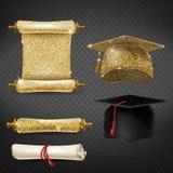 Vector fijado con los casquillos y los diplomas de la graduación stock de ilustración