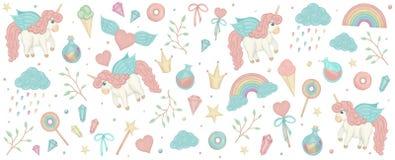 Vector fijado con los cliparts del unicornio Bandera horizontal con el arco iris lindo, corona, estrella, nube, cristales para lo foto de archivo