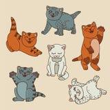 Vector fijado con los gatitos divertidos Imagen de archivo