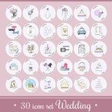Vector fijado con los iconos y los elementos de la boda Imágenes de archivo libres de regalías