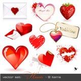 Vector fijado: corazones Imagenes de archivo