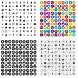 100 vector fijado de la casa iconos elegantes variable Foto de archivo libre de regalías