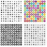 100 vector fijado de la nutrición iconos variable Foto de archivo libre de regalías