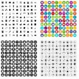 100 vector fijado de los bienes de consumo iconos variable Imagen de archivo