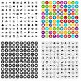 100 vector fijado de los montos totales iconos variable Fotografía de archivo