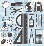 Vector fijado: De nuevo a etiquetas y a iconos de la escuela Imagen de archivo libre de regalías
