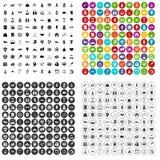 100 vector fijado del éxito iconos variable Fotos de archivo