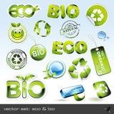 Vector fijado: eco y bio Imágenes de archivo libres de regalías