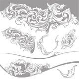 Vector fijado: Elementos del diseño y decoración barrocos de la página Fotos de archivo