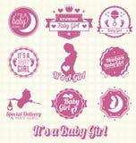 Vector fijado: Es etiquetas de un bebé stock de ilustración