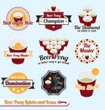 Vector fijado: Escrituras de la etiqueta e iconos del campeón de Pong de la cerveza Foto de archivo libre de regalías