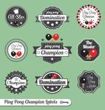 Vector fijado: Escrituras de la etiqueta e iconos del campeón del ping-pong Fotografía de archivo libre de regalías