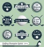 Vector fijado: Escrituras de la etiqueta e iconos del golf Fotos de archivo