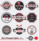 Vector fijado: Escrituras de la etiqueta retras del campeón de los dardos Imagen de archivo