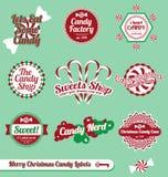 Vector fijado: Escrituras de la etiqueta retras del caramelo de la Navidad Fotos de archivo