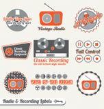 Vector fijado: Escrituras de la etiqueta y etiquetas engomadas retras de la grabación Foto de archivo libre de regalías