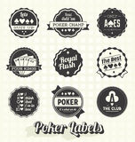 Vector fijado: Etiquetas del póker del vintage Fotos de archivo libres de regalías