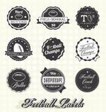 Vector fijado: Etiquetas e iconos de los campeones del fútbol Foto de archivo