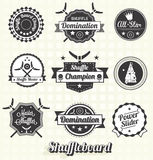 Vector fijado: Etiquetas e iconos del juego de tejo Foto de archivo libre de regalías