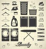 Vector fijado: Etiquetas e iconos del lavadero Fotografía de archivo libre de regalías