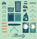 Vector fijado: Etiquetas e iconos del lavadero Imagen de archivo libre de regalías