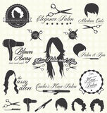 Vector fijado: Etiquetas e iconos retros del salón de pelo Foto de archivo libre de regalías