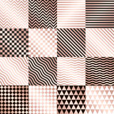 Vector fijado fondos color de rosa geométricos del oro Fotos de archivo