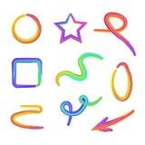 Vector fijado: Formas multicoloras de la plastilina diversas, formas abstractas aisladas, elementos decorativos ilustración del vector